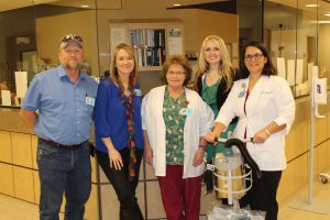 The Hamilton special project team that brought the new safety device.  Left to Right:  Jeff Layhew, Safety Officer/Director of Plant Services; Keela Payne, Human Resources Director; Debbie Martin, Chief Nursing Officer; Emily Dossey, Chief Projects Officer; and Christy Segit, Assistant Director of Nursing